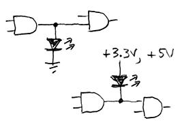 LED logic-level indicators