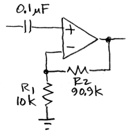 ac-coupled x10 amplifier